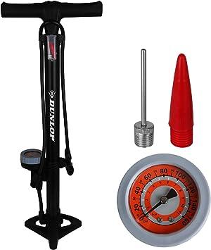 Dunlop Bomba de aire de pie para bicicleta con manómetro para todas las válvulas, bomba de pie para bicicleta: Amazon.es: Deportes y aire libre