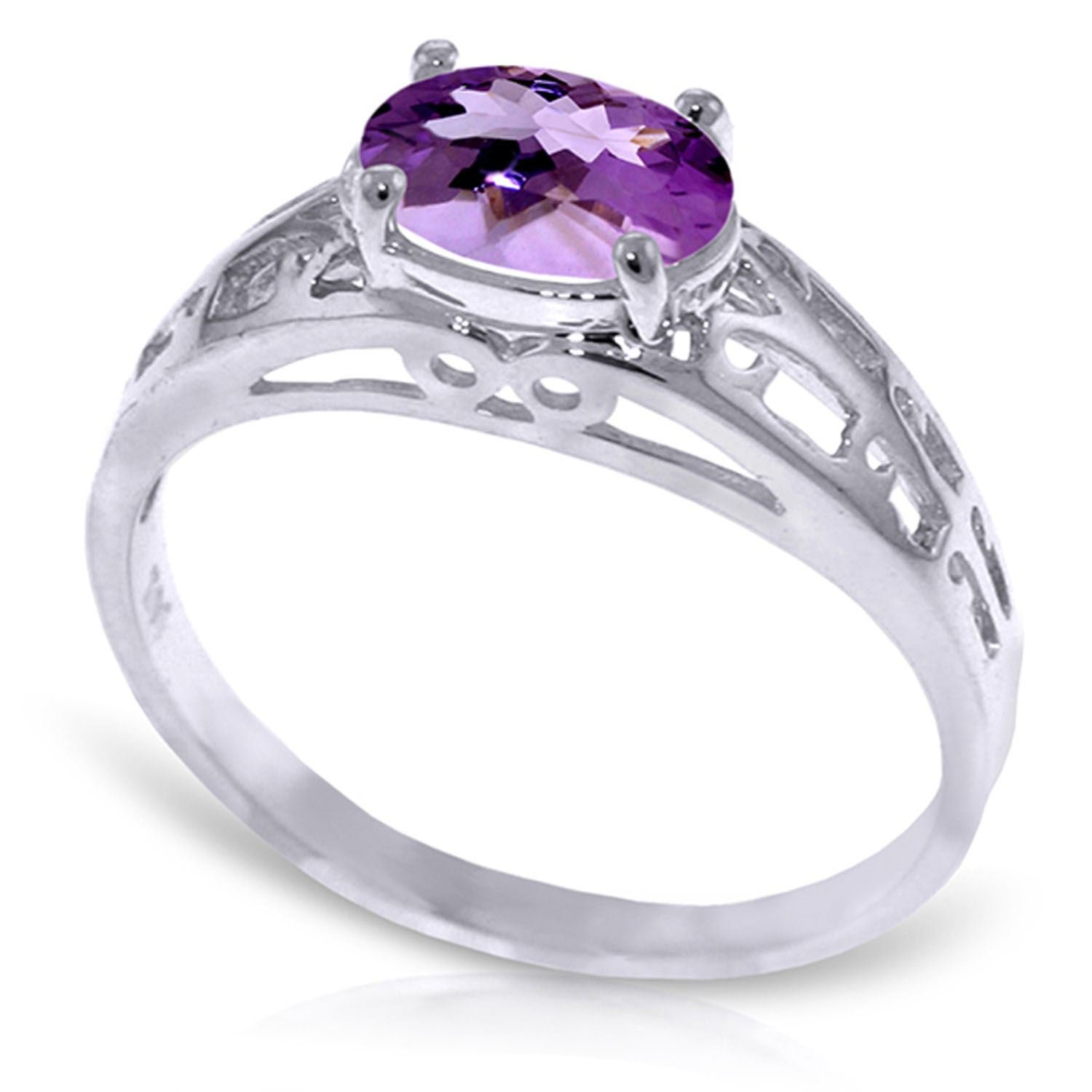 ALARRI 1.15 Carat 14K Solid White Gold Filigree Ring Natural Purple Amethyst With Ring Size 6.5