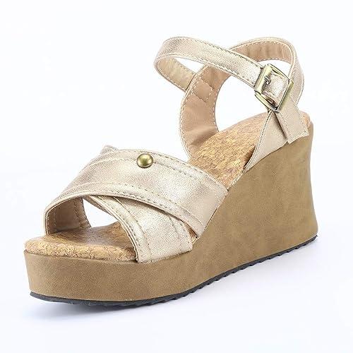 1585b8471e359e Chaussures Femme—Sandale Femme Talon Compense Printemps-éTé,Pas Cher Bout  Ouvert avec