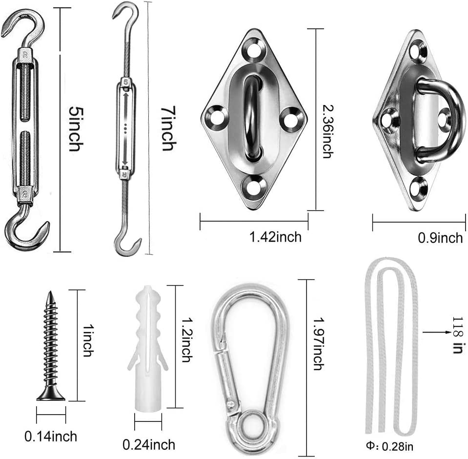 WJCGX Shade Sail Hardware Kit Heavy Duty 304 Stainless Steel Sun Shade Sail Fixing Accessories for Triangle and Square Rectangle Sun Shade Sail Installation in Patio Lawn and Garden