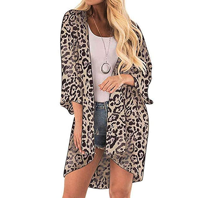 af0c2383472f 2019 Ladies Women Long Sleeve Crop Top Leopard Print Cover Casual Blouse  Tops Kimono Bikini Cardigan Capes Cover: Amazon.ca: Clothing & Accessories