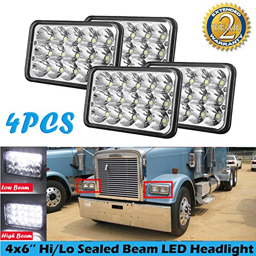 4x6 LED Headlamp Rectangular Sealed Beam for Freightliner Classic 2002-2010 180W Total White 6000K Projector Headlight Replace H4651 H4652 H4656 H4666 H6545 (Pack of 4,H4 Plug)