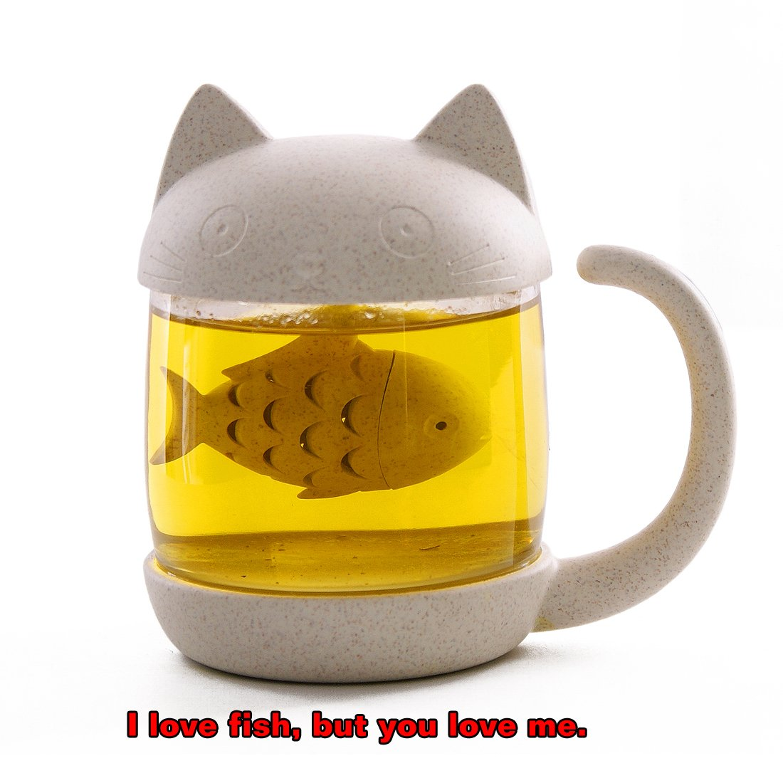 ALEXAMAZING Small Cute Design Cat Style Glass Tea Cup with Fish Infuser and Lid for Office Home Afternoon Tea Time; Perfect Gift Idea(8.5 oz/250ml, Meow)