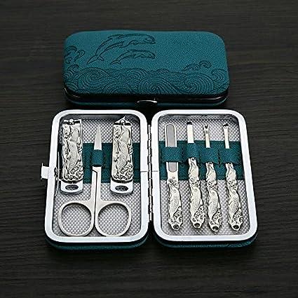lzndeal Kit manucre Pedicure Set de Cortauñas Herramientas de pedicura manicura de acero inoxidable delfín azul clavos Cortauñas Kit de acicalado – Estuche manicura pedicura: Amazon.es: Belleza