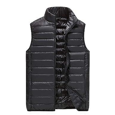 ffcbb143d9dc9 Zichhing Men s Vest White Duck Down Autumn Winter Vest Casual Sleeveless  Jacket Black M