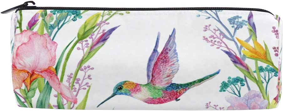 City for Student Boy Girl Glasses Case Pen Stationary Bag Zipper Pouch Purse Cosmetic Makeup Bag Pencil Case Bulldog Watercolor Iris Flower and Hummingbird Exotic Floral Spring Nature