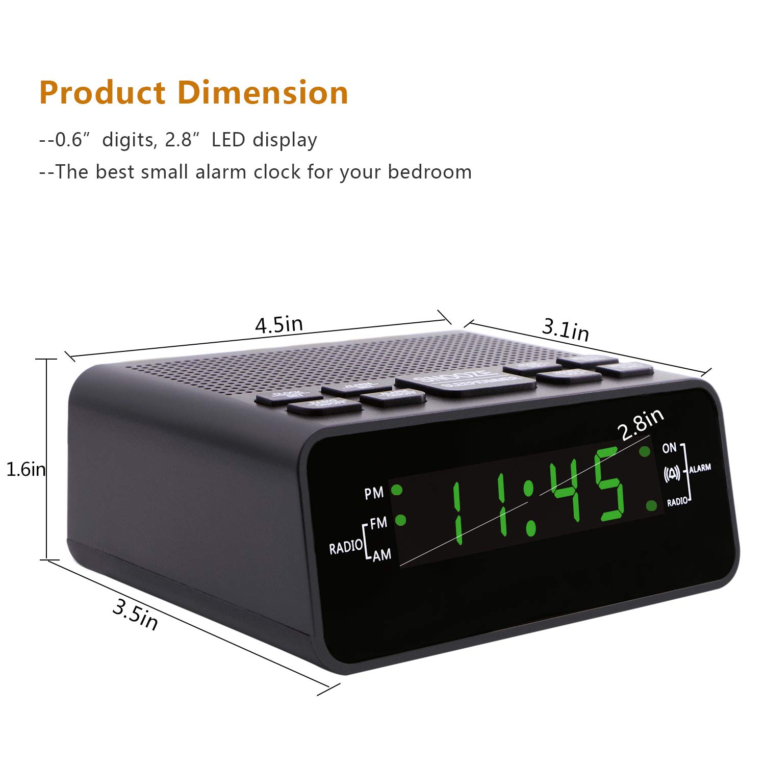Amazon.com: Alarm Clock, Digital Alarm Clock Radio with AM ...