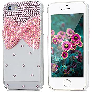 iPhone SE Case, iPhone 5S Case, iPhone 5 Case - Mavis's Diary Bling Cute Pink Bow Clear 3D Handmade Hard PC Case with Lovely Pink Sparkle Crystal Glitter Rhinestone Diamond Cover with Cleaning Cloth