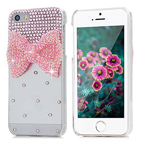 iPhone SE Case, iPhone 5S Case, iPhone 5 Case - Mavis's Diary Bling Cute Pink Bow Clear 3D Handmade Hard PC Case with Lovely Pink Sparkle Crystal Glitter Rhinestone Diamond (Diamond Bling Hard Case)