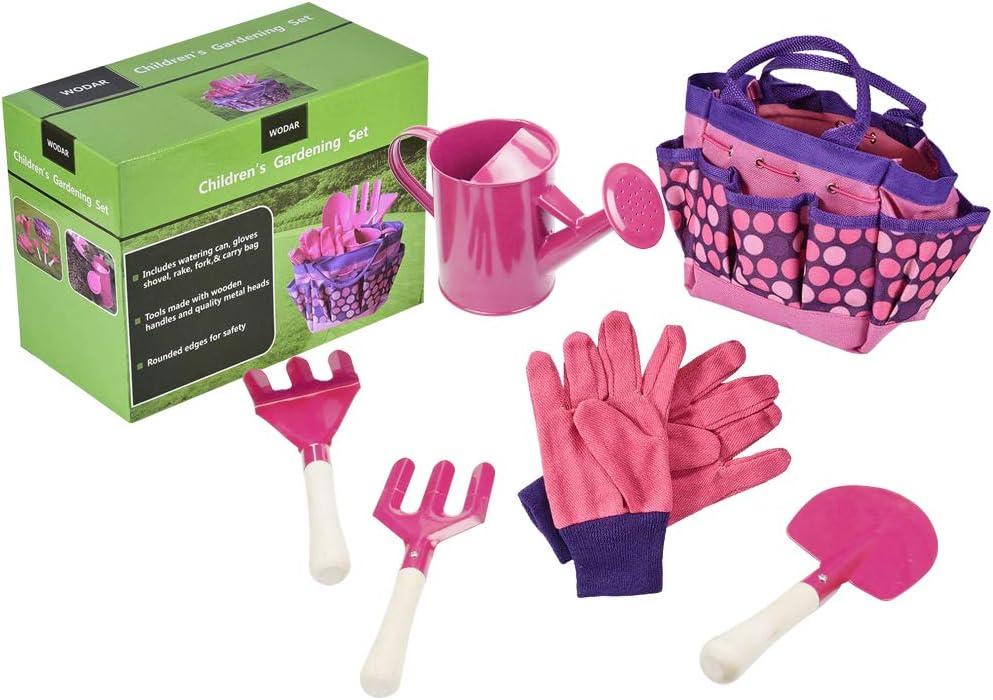 PiscatorZone Children Gardening Tools Set, Kids Garden Tool Toys Including Watering Can, Gardening Gloves, Shovel, Rake, Trowel, Cloth Bag (Pink)
