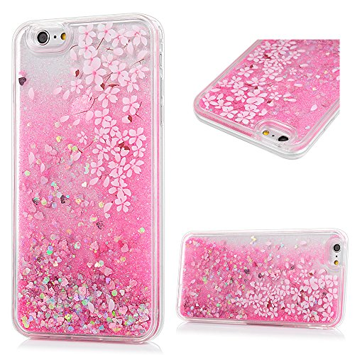 iPhone 6S Plus Case,iPhone 6 Plus Case - Flowing Liquid Floating Bling Glitter Sparkle Love Hearts Shockproof TPU Bumper Frame Lightweight Slim-Fit Hard PC Protective Cover by Badalink - Small Flowers
