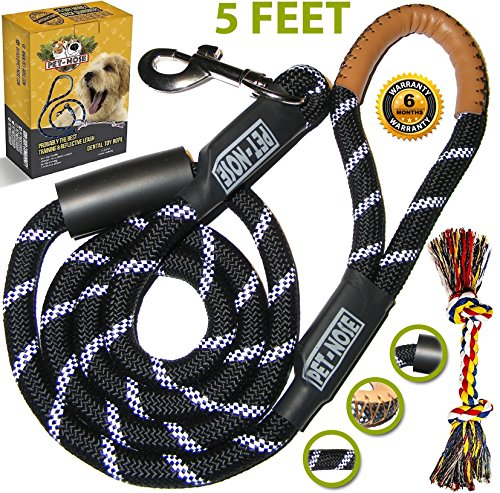 Strong Dog Leash for Medium and Large Dogs with Chew Resistant Mountain Climbing Rope (Black) & Padded Handle for No Pulling Dogs - 5ft Long Heavy Duty Reflective Training Lead - Safety for Night Walk (Cesar Leash Snap Millan Dog)