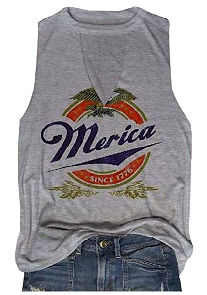 d0b47fff Amazon.com: MK Shop Limited Women Merica Since 1776 Tank Sleeveless  Racerback Tanktops Vest T-Shirt: Clothing