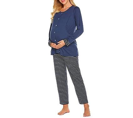 819faa491c19a Women Long Sleeve Pajamas Set Pregnant Breastfeeding Maternity ...