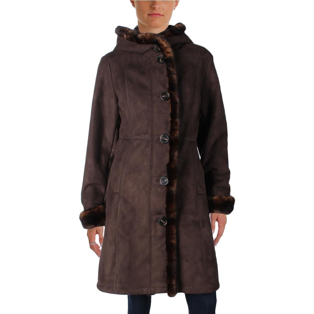 Gallery Womens Petites Faux Suede Faux Fur Lined Pea Coat Brown PL by Gallery (Image #1)