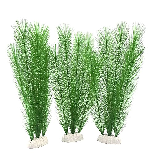 BEGONDIS Aquarium Decorations 3Pcs Fish Tank Artificial Green Water Plants Made of Silk Fabrics Plastic, Safe for All Fish & Pets