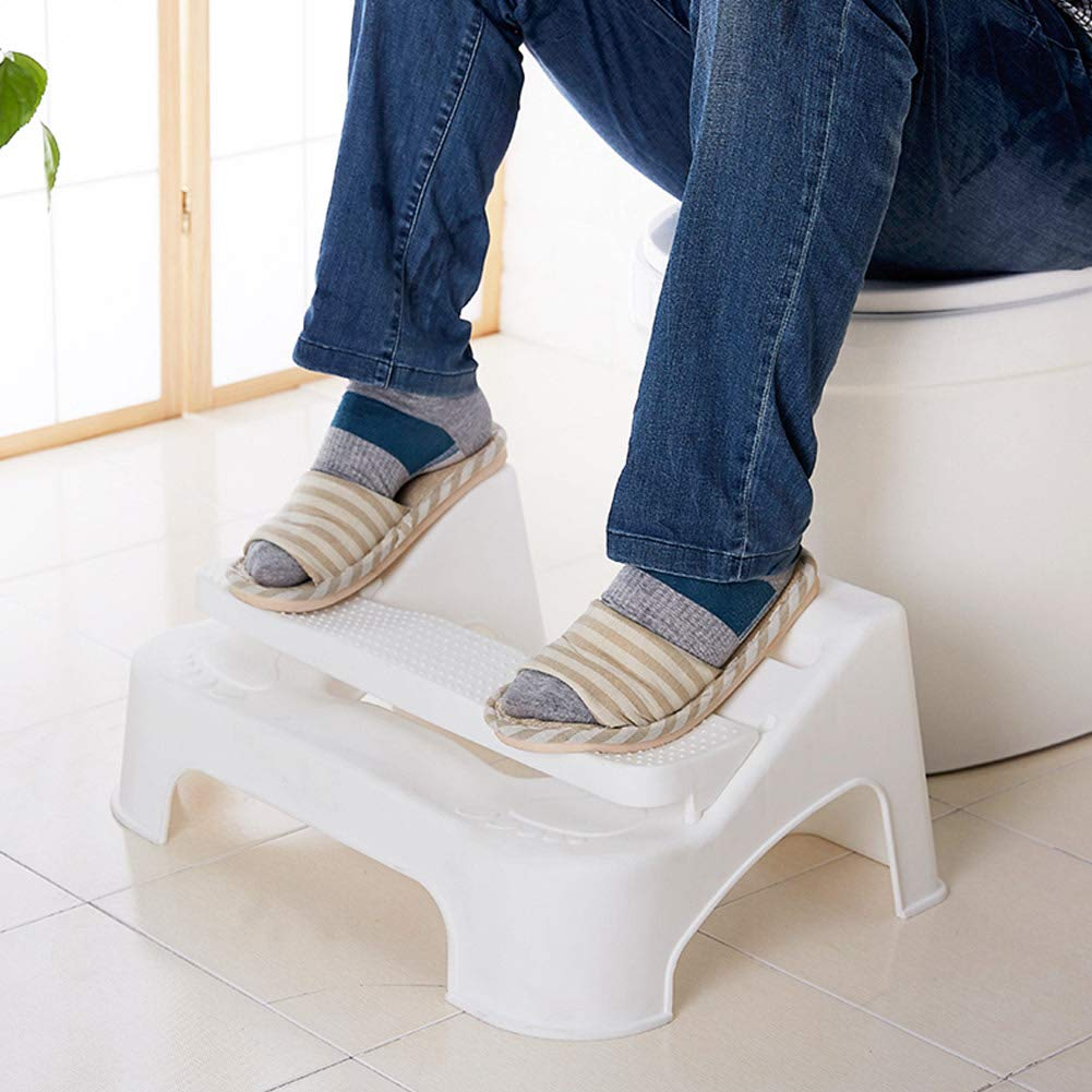 SHZONS Toilet Stool, Squatting Stool with Built-in Foot Massager to Boost Blood Circulation,Fits All Toilets,Folds for Easy Storage,Use in Any Bathroom