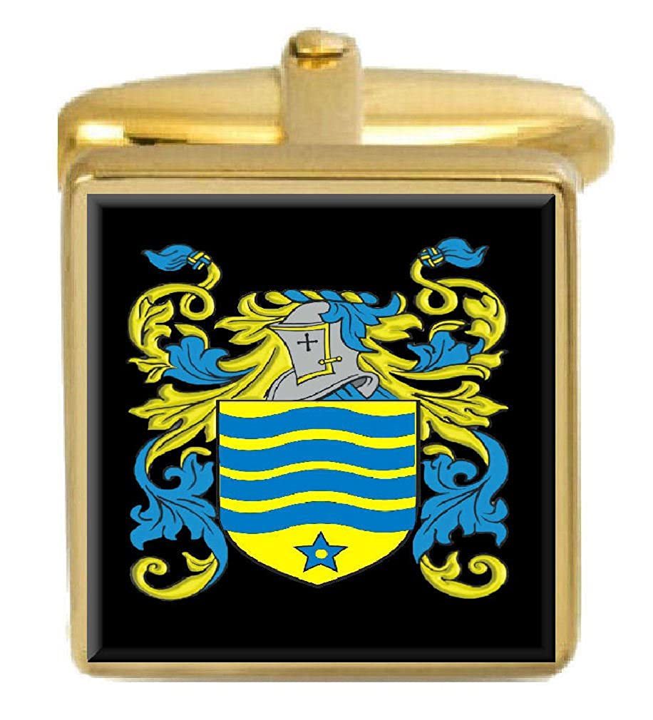 Select Gifts Molyneux England Family Crest Surname Coat Of Arms Gold Cufflinks Engraved Box