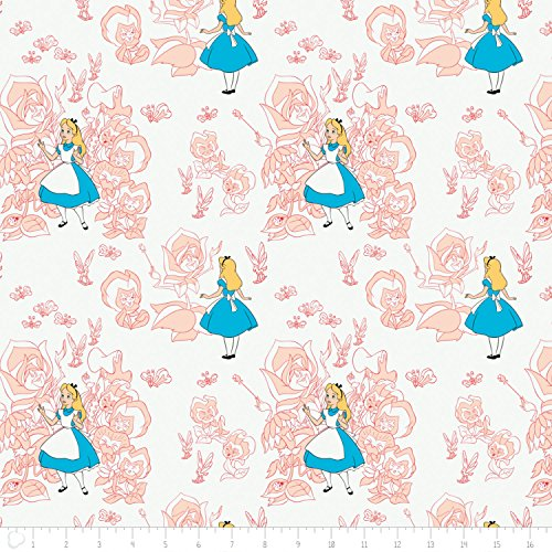 - Disney Alice in Wonderland Golden Afternoon Toile In Pink Blush Fabric From Camelot By the Yard