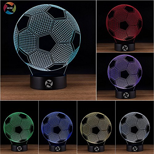 3D Optical Illusion Night Light - 7 LED Color Changing Lamp - Cool Soft Light Safe For Kids - Solution For Nightmares - Soccer Ball