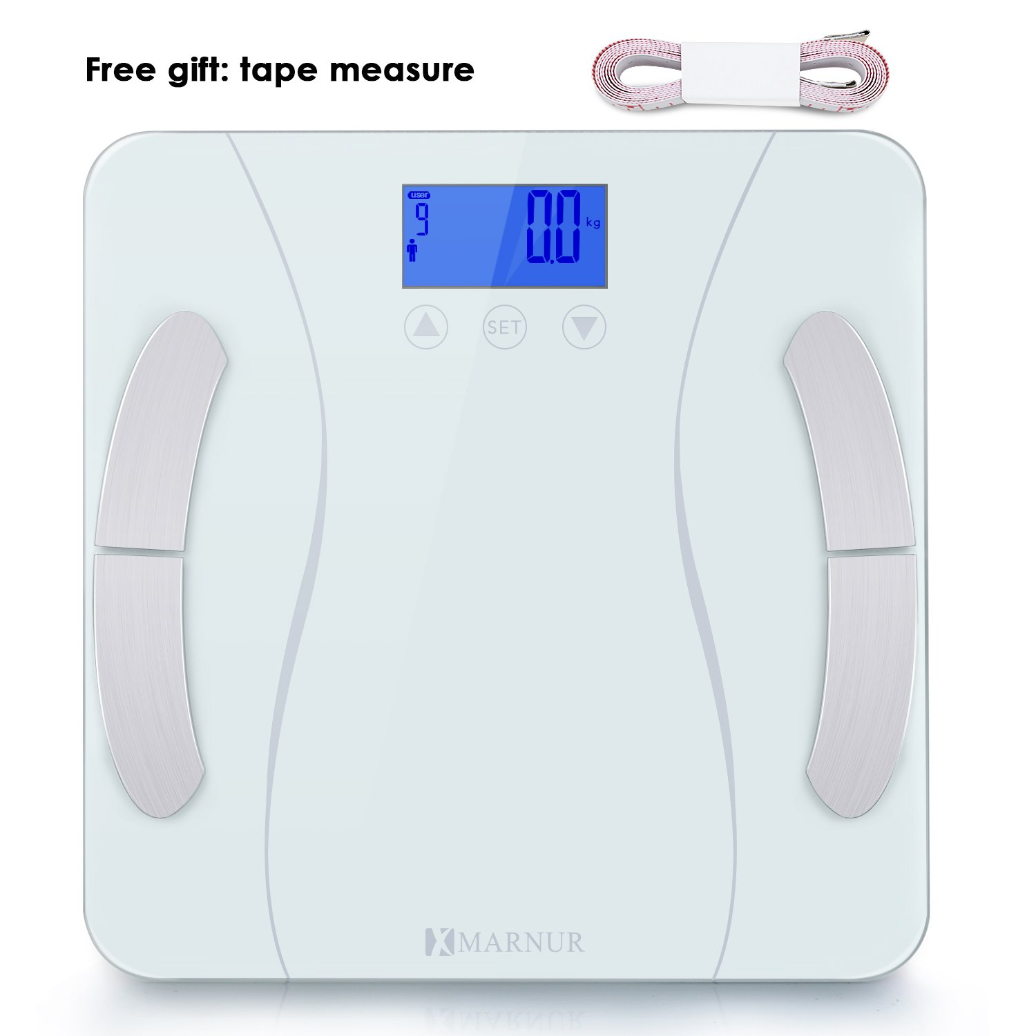 MARNUR Digital Body Fat Scale, Weight Scale, Bathroom Scale - with BIA Technology High-Precision Sensors and Tape Measure for Body Composition Analysis and Healthy Life