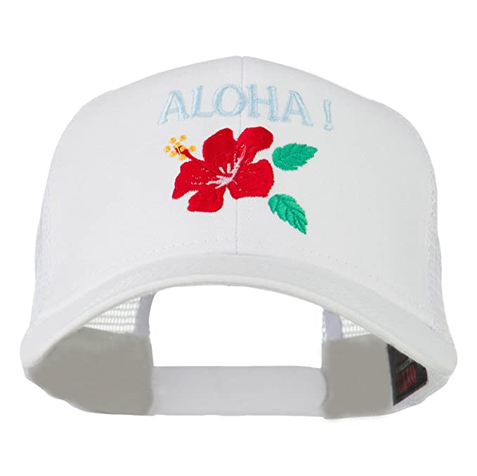 41c9f6d3784f1a E4hats Hawaii State Flower with Aloha Embroidered Trucker Cap - White OSFM