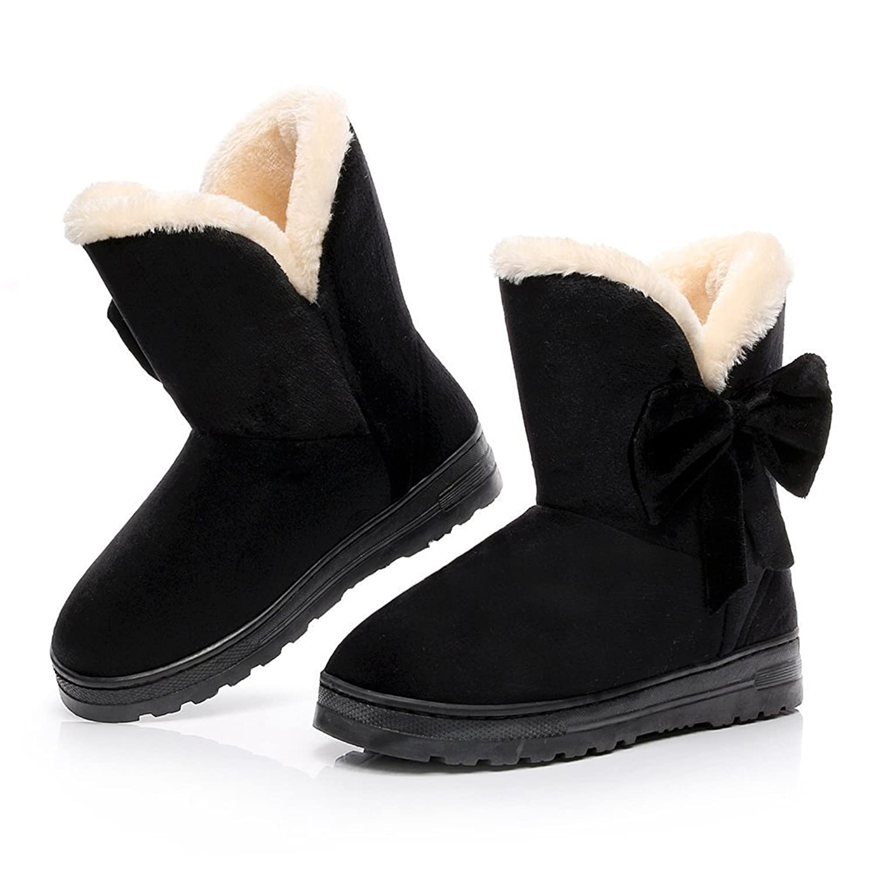 VOEN Womens Snow Boot Bowknot Full Fur Winter Flat Boot