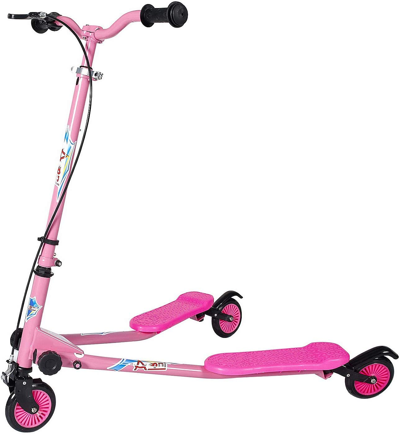 AODI Kids Foldable Swing Scooter Adjustable Height Kick Speeder Wiggle Scooters Self Push Drift for Boys Girl 3 Years Old and Up