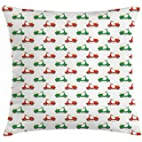 Motorcycle Throw Pillow Cushion Cover by Ambesonne, Vintage Scooters with Step-through Frame on Display Lively Colors Spotlight, Decorative Square Accent Pillow Case, 40 X 40 Inches, Emerald Scarlet