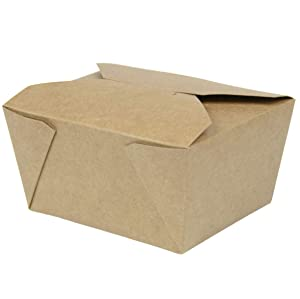 """[36 Pack] 30 oz 5 x 4.5 x 2.5"""" Disposable Paper Take Out Food Containers, Microwaveble Folding Natural Kraft to Go Boxes #1"""