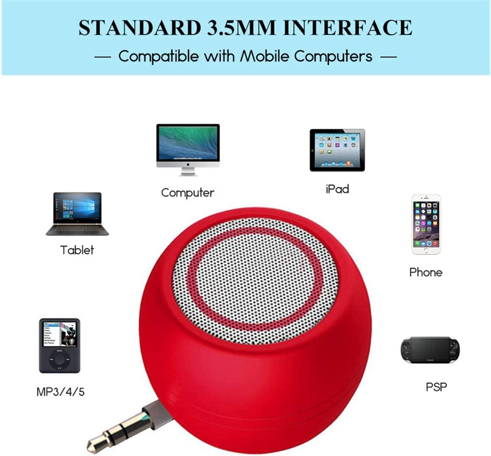 Rumfo Mini Phone Speaker Portable Wireless Plug in Speaker with 3.5mm Aux Audio Jack Rechargeable Plug and Play Clear Bass Speaker Universal For Cell Phone iPad MP3 MP4 Tablet Computer Red