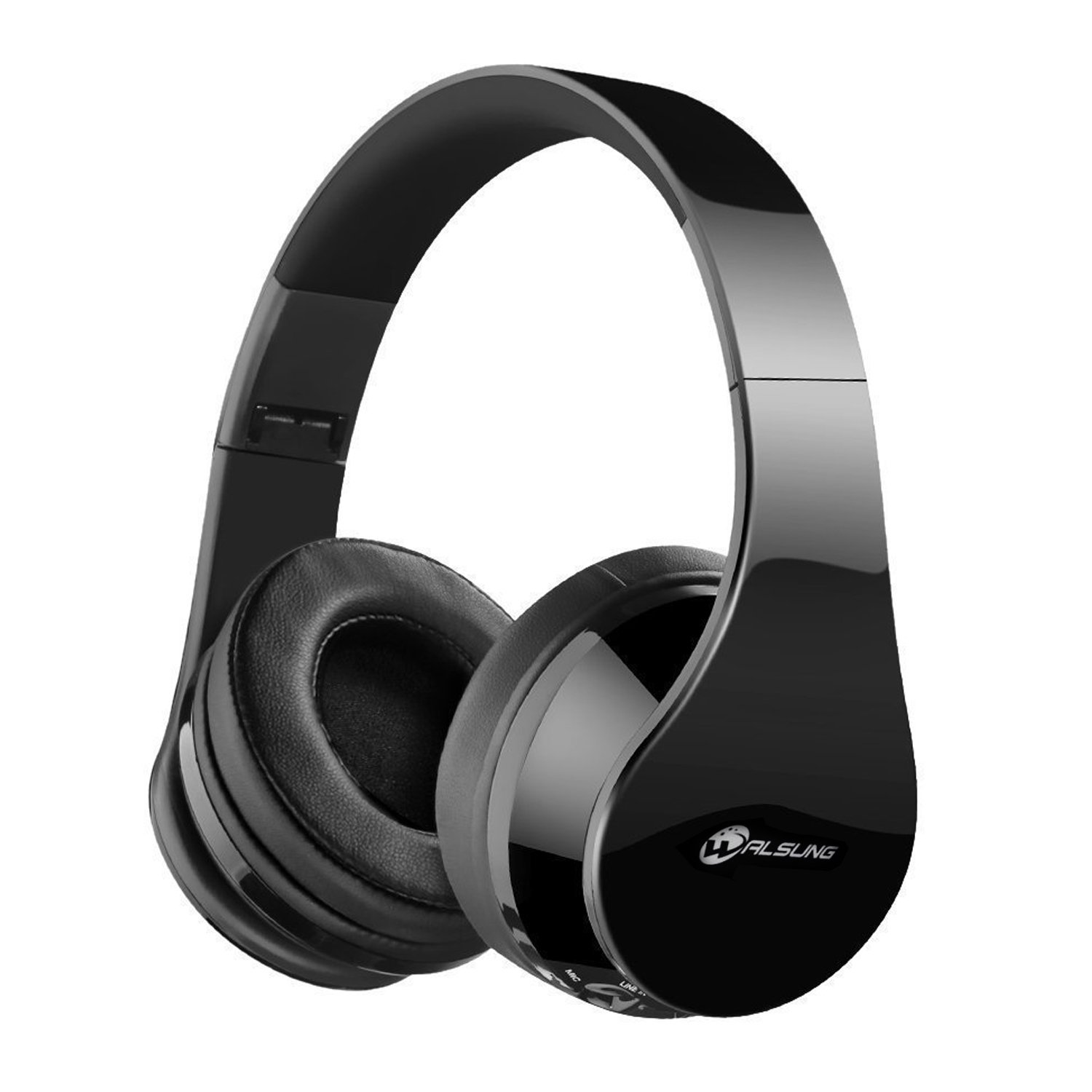 Walsung Bluetooth Headphones Over-ear Stereo Wireless / Wired Headset with Microphone Support TF Card, FM Radio, Hands-free Calling for Cell Phone, PC, Moto, iPad, PSP, iPhone 8, iPhone X (Black)