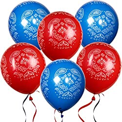 "36 Bandana Balloons 12"" Latex Balloon in Red and Blue for Western Cowboy Theme for Kids Birthday Party Favor Supplies Decorations by Gift Boutique"