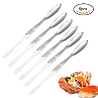 EQLEF® 6 Packs Stainless Steel Seafood Forks Silver Crab Picks
