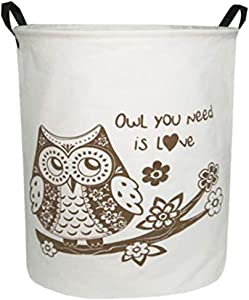 Sanjiaofen Large Sized Storage Baskets,Canvas Waterproof Storage Bin,Collapsible Organizer Baskets for Home,Office,Toy Bins,Laundry Hamper(Owl)