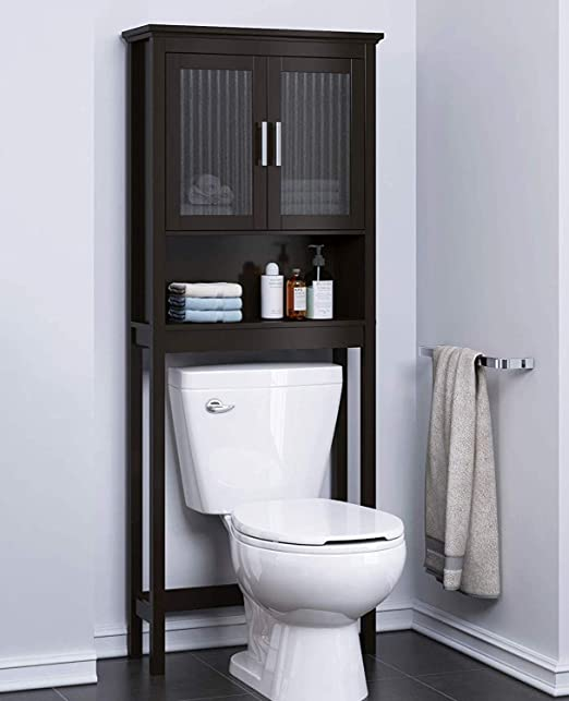 Spirich Home Bathroom Shelf Over The Toilet Bathroom Cabinet Organizer With Moru Tempered Glass Door Espresso