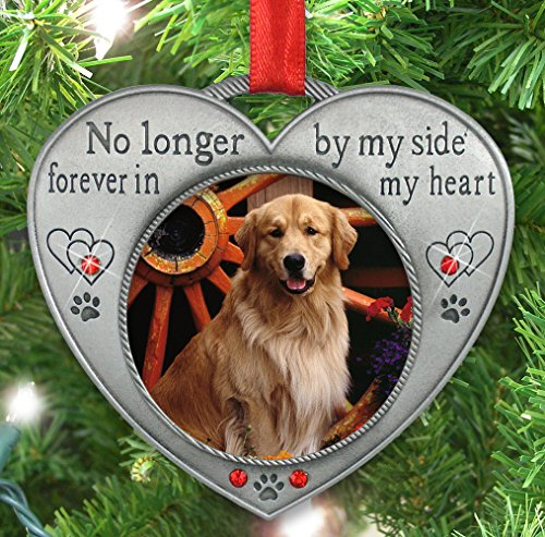 Pet Memorial Picture Ornament - No Longer By My Side - Heart Shaped ...