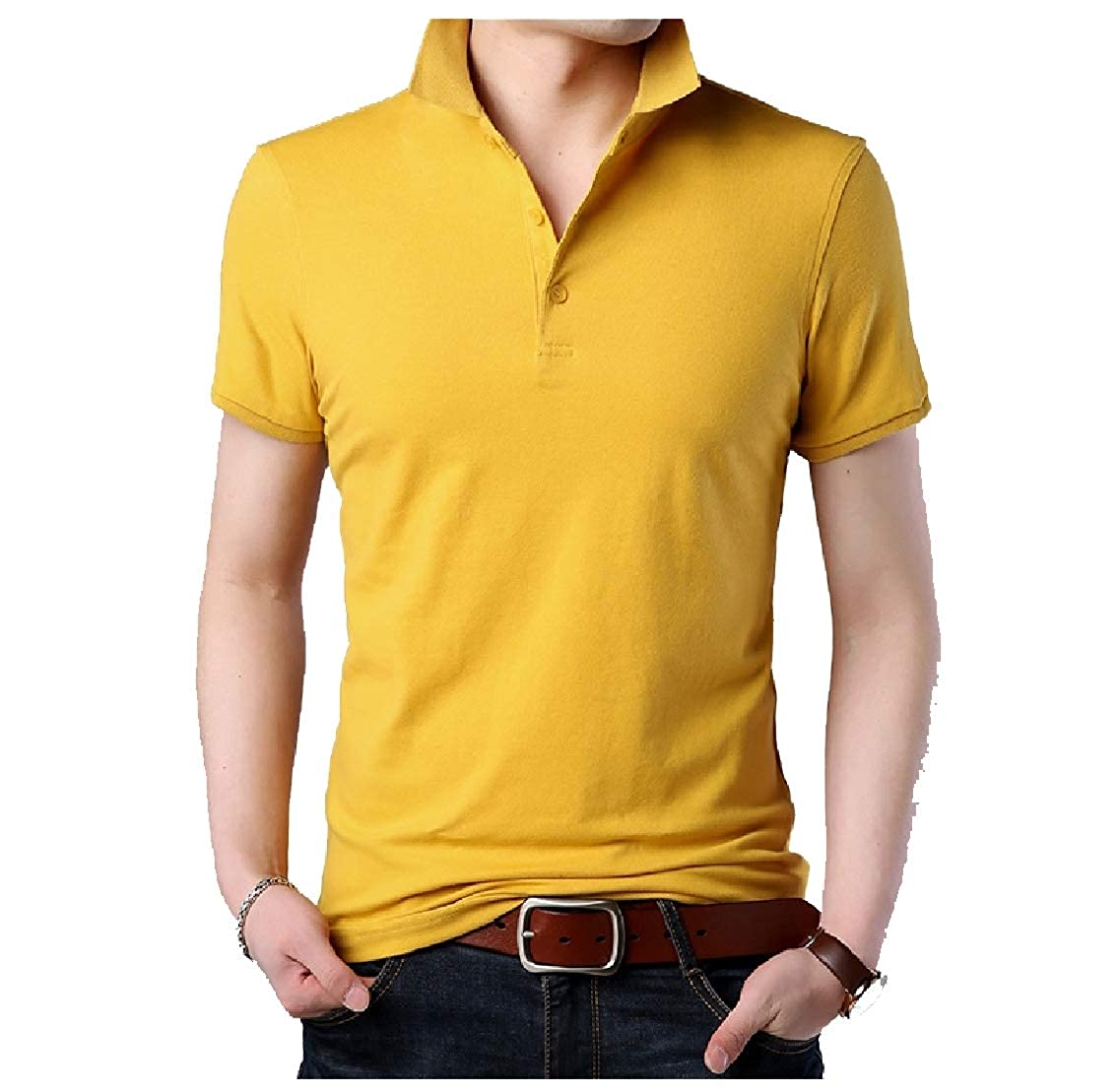 Coolred-Men Polo Pure Color Fitted Leisure Cotton Short-Sleeve Tees Top