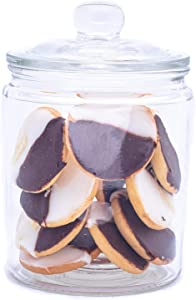 Airtight Glass Cookie and Candy Jar with Lid – Round Flour and Sugar Canister – Half Gallon Food Storage Jar with Chalkboard Sticker Included – Set of 1
