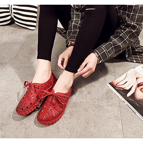 DULEE - Sandalias deportivas de Piel para mujer Red