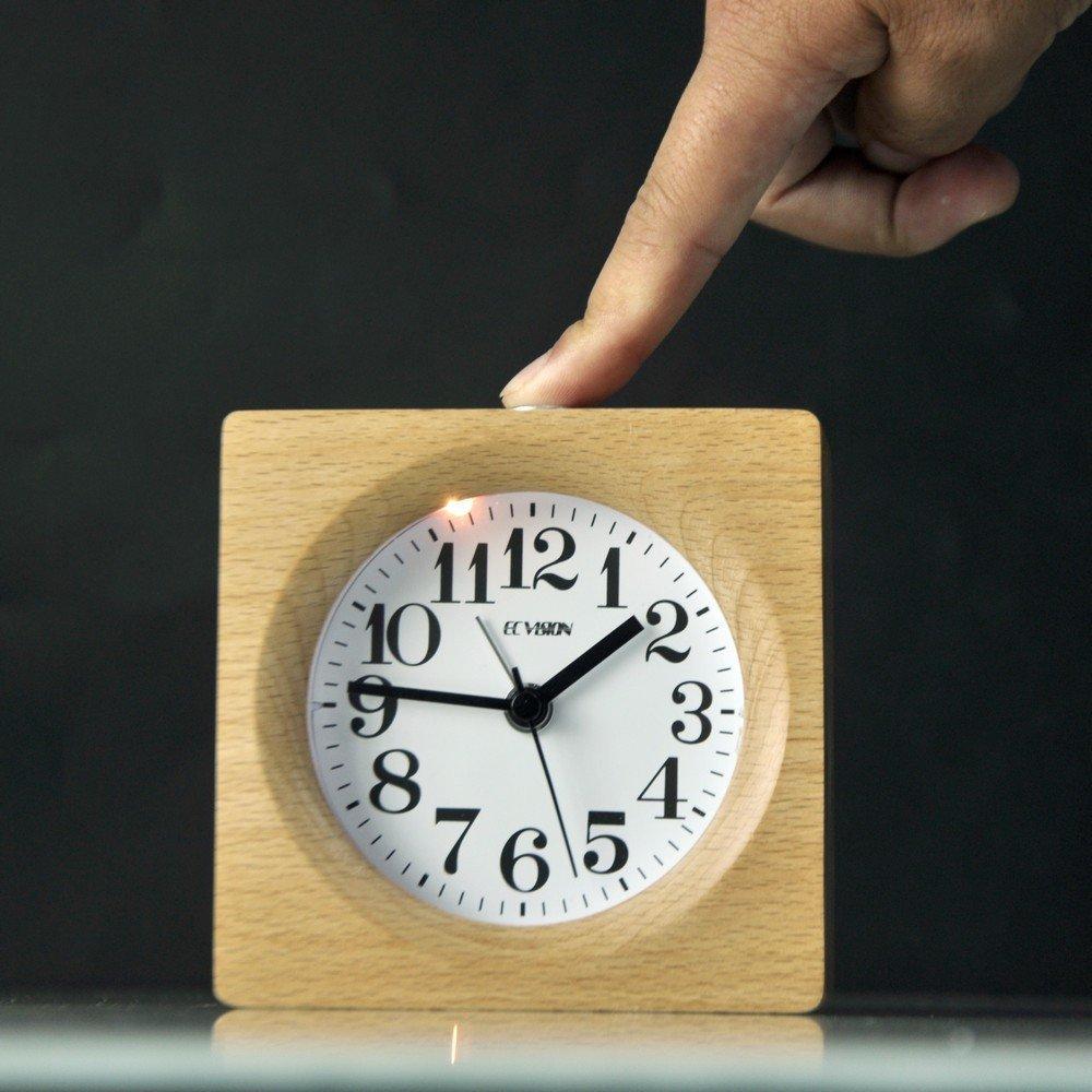 ECVISION Handmade Alarm Clock Classic Small Square Silent Table Snooze Zelkova Clock Beech Wood Travel Clock with nightlight (Light Woodgrain)