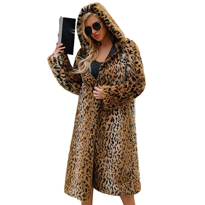 Abrigos de otoño Invierno, Dragon868 Mujeres cálidas de Invierno Leopardo Impreso Capucha de Piel sintética Abrigos Largos: Amazon.es: Ropa y accesorios