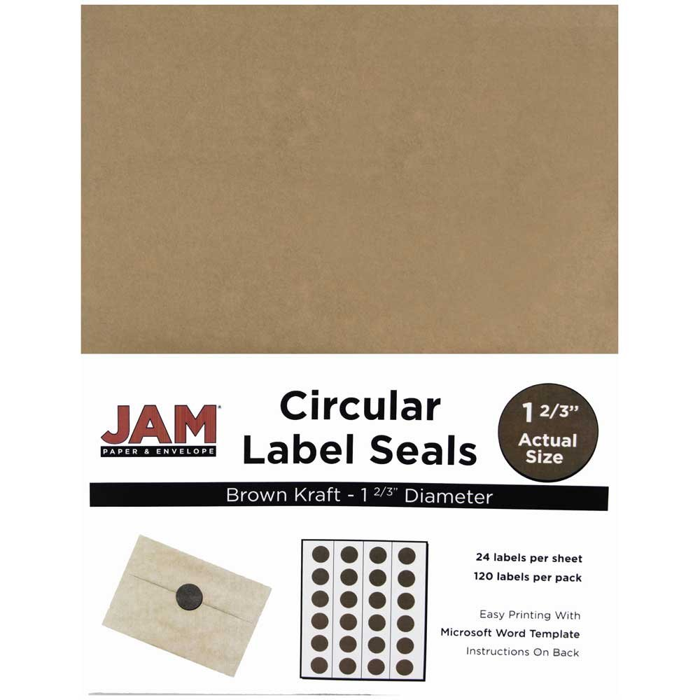 JAM Paper Round Circle Label Sticker Seals - 1 2/3'' Diameter - Natural Brown Kraft - 120/pack
