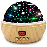 Star Projector Night Light, Wood Grain LED Bedroom Light Projector with 5-995 Minutes Timer Auto-Shut Off, Colorful Star…