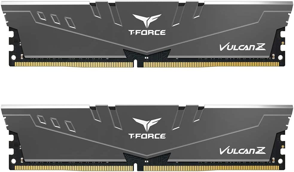 TEAMGROUP T-Force Vulcan Z DDR4 16GB Kit (2 x 8GB) 3200MHz (PC4 25600) CL16 Desktop Memory Module Ram - Gray - TLZGD416G3200HC16CDC01