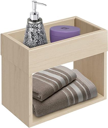 BAKAJI Mueble estantería de pared para baño de madera con 2 ...