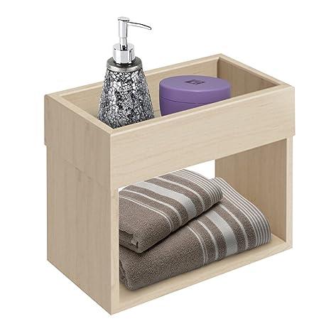 BAKAJI Mobile Mueble Estante estantería Armario de Pared para baño (Madera 2 estantes Color Natural
