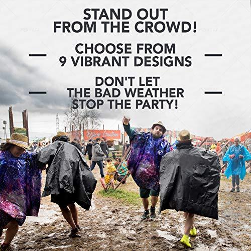 Foxelli Hooded Rain Poncho – Waterproof Emergency Raincoat for Adult Men & Women