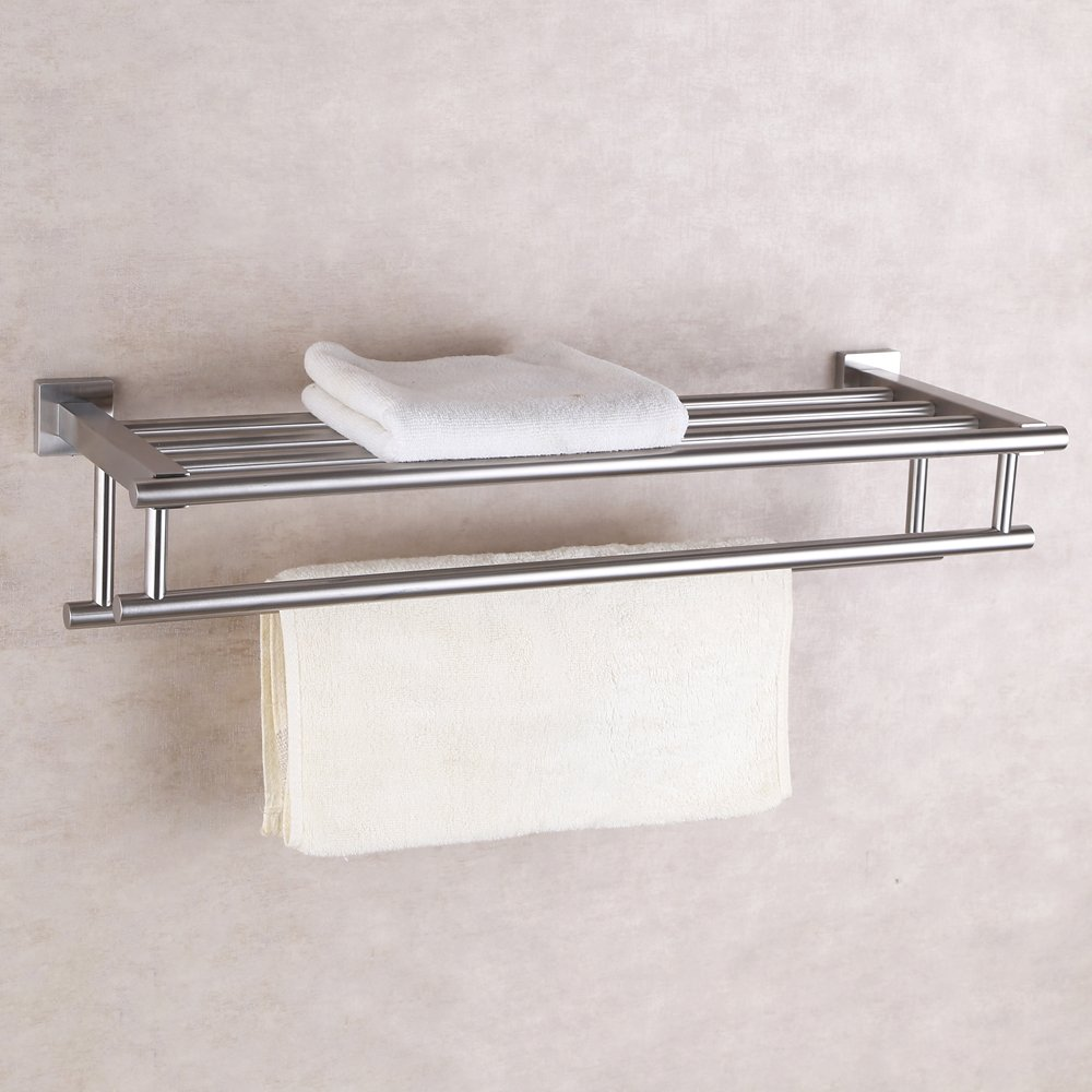 bathroom towel double bar rack shelf storage shower wall