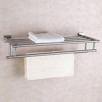 Amazon com  KES Stainless Steel Bath Towel Rack Bathroom Shelf   KES Stainless Steel Bath Towel Rack Bathroom Shelf with Double Towel Bar 60  CM Storage Organizer. Bathroom Shelf With Towel Bar. Home Design Ideas